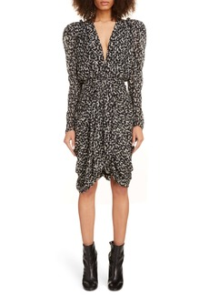 Isabel Marant Drape Detail Long Sleeve Minidress