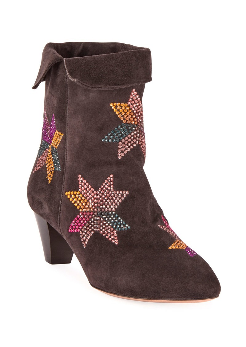 Isabel Marant Dyna Embroidered Suede Ankle Boots