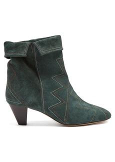 Isabel Marant Dyna zigzag-embellished suede ankle boots