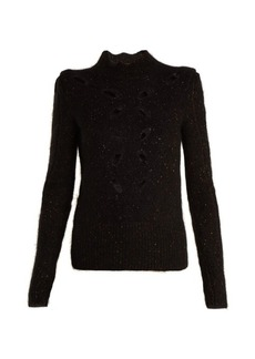 Isabel Marant Elea cut-out speckled ribbed-knit top
