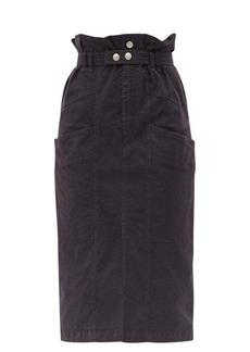 Isabel Marant Elekia paperbag-waist linen-blend midi skirt