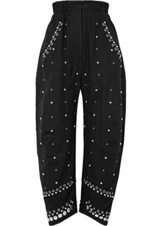 Eloma embellished cotton-canvas tapered pants