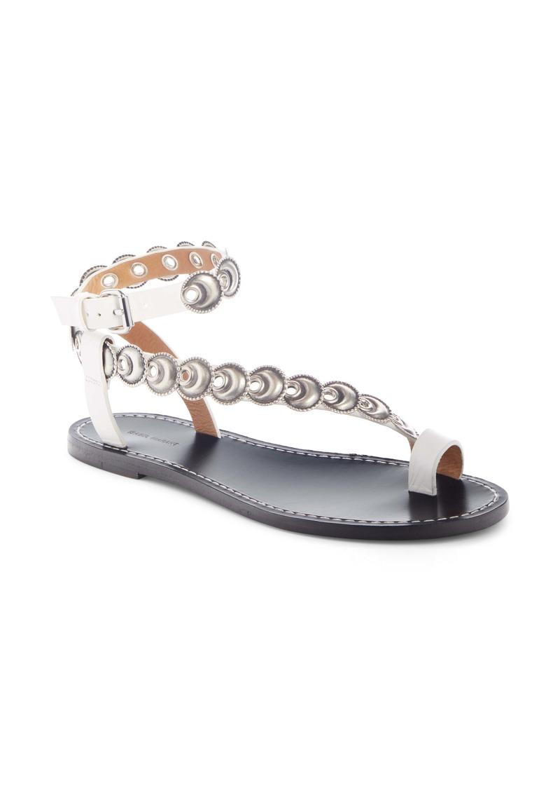 Isabel Marant Ermony Asymmetrical Ankle Strap Flat (Women)