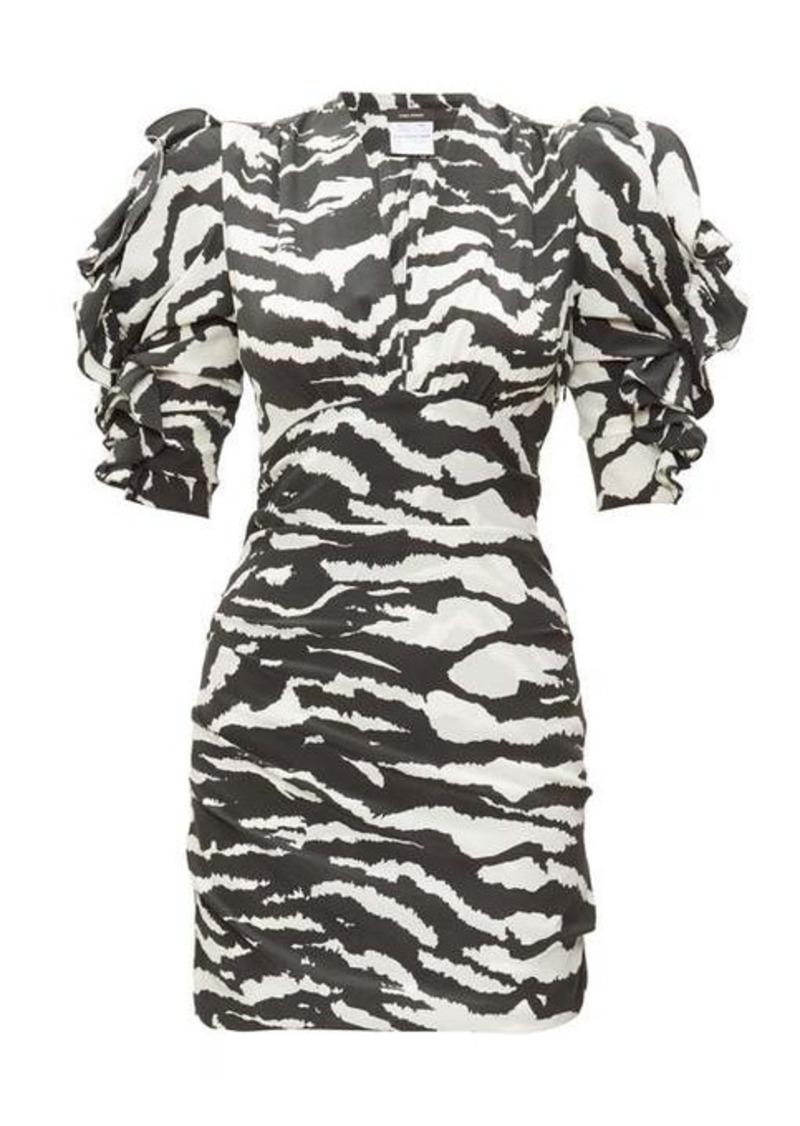 Isabel Marant Farah puff-sleeve tiger-print silk-blend dress
