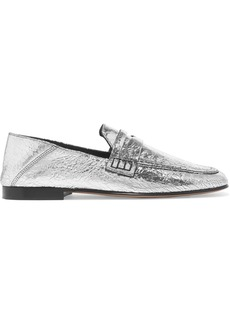 Isabel Marant Fezzy metallic cracked-leather collapsible-heel loafers