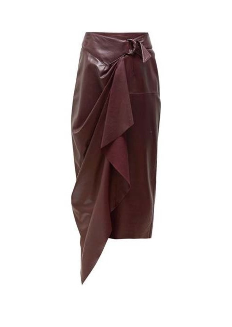 Isabel Marant Fiova belted draped leather skirt