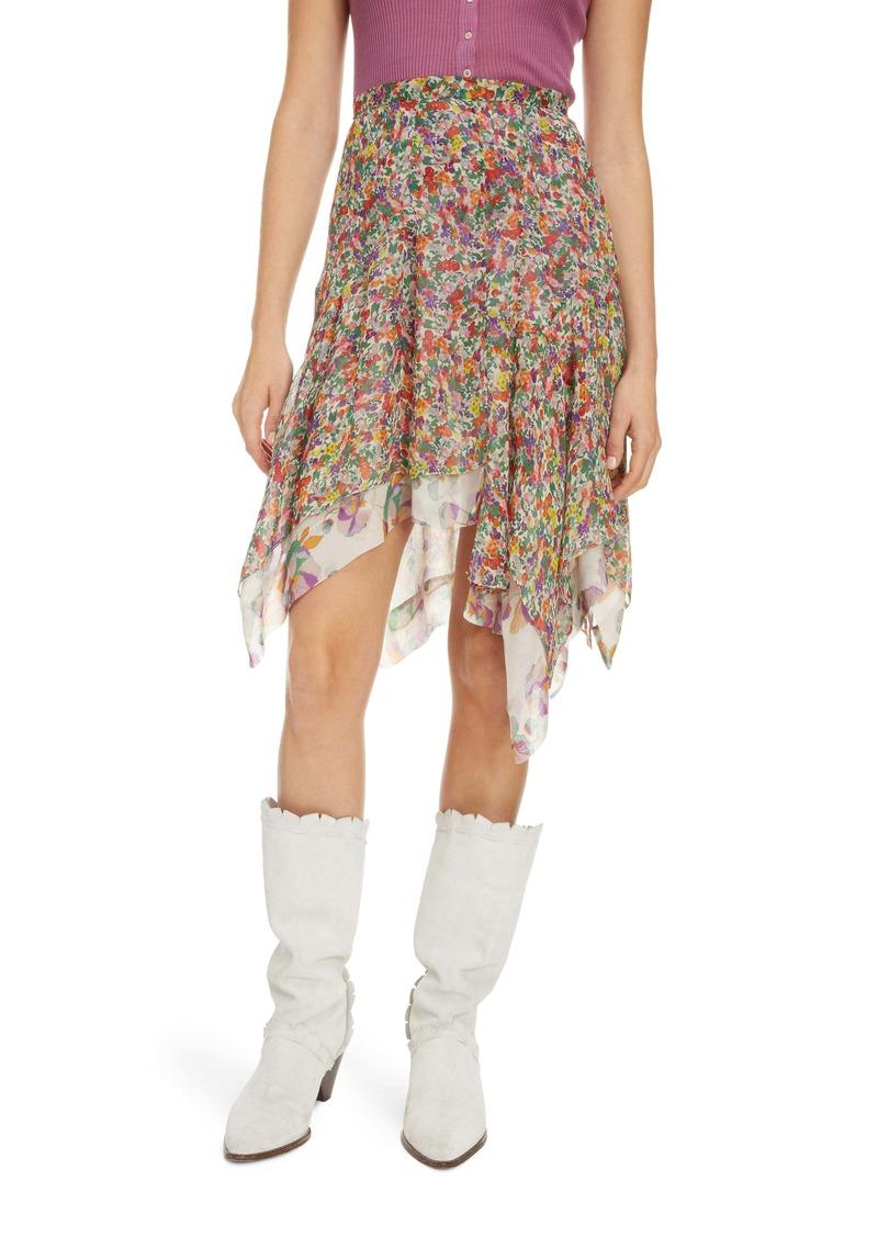 Isabel Marant Floral Asymmetrical Silk Skirt