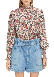 Isabel Marant Floral High Neck Stretch Silk Blouse