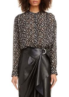 Isabel Marant Floral Metallic Silk Blend Blouse