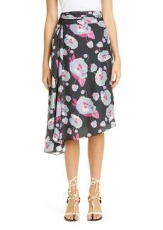 Isabel Marant Floral Print Asymmetrical Silk Skirt
