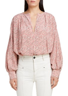 Isabel Marant Floral Print Stretch Silk Blouse