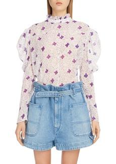 Isabel Marant Floral Puff Shoulder Cotton & Silk Blouse