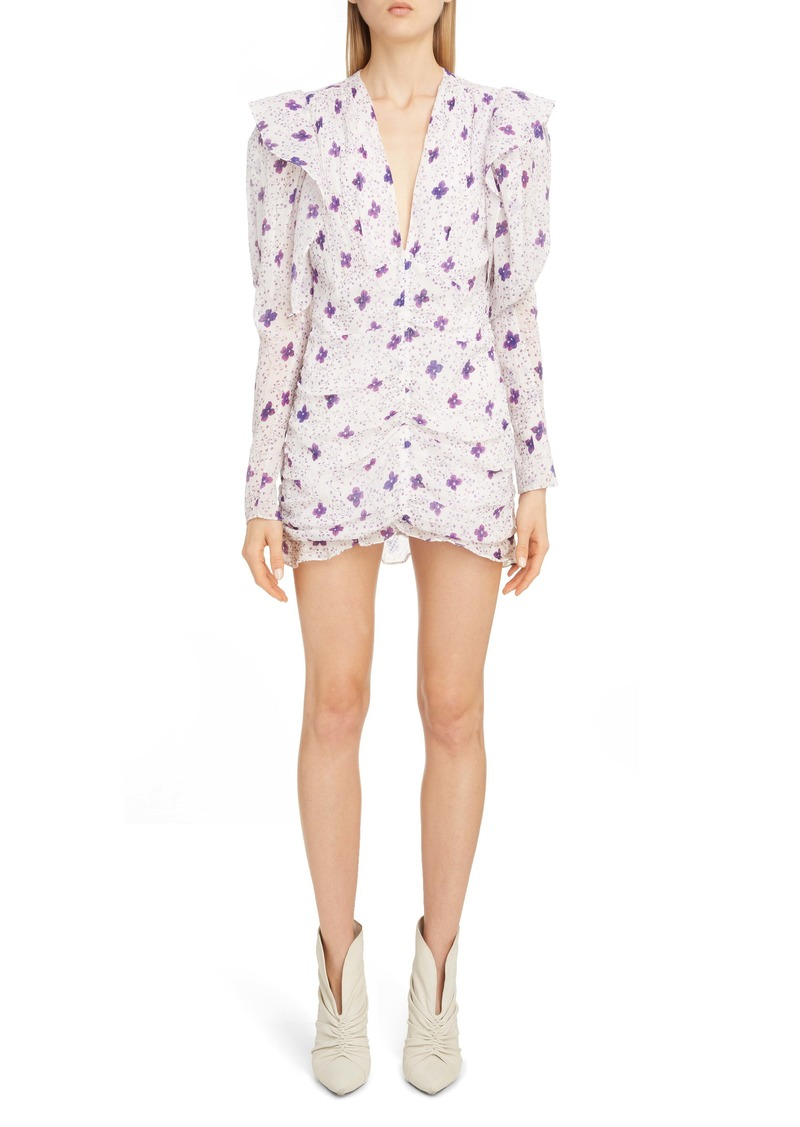Isabel Marant Floral Ruffle Trim Long Sleeve Minidress