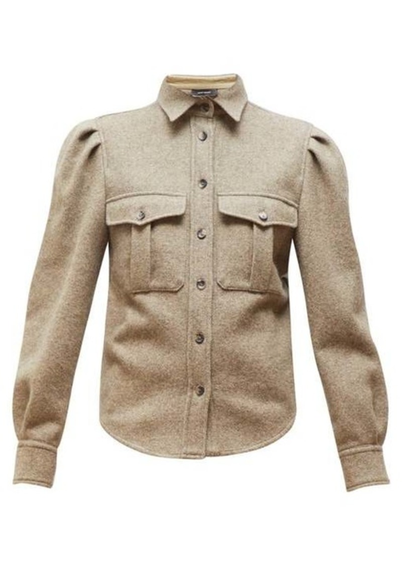 Isabel Marant Florrie puffed-sleeve wool-blend overshirt