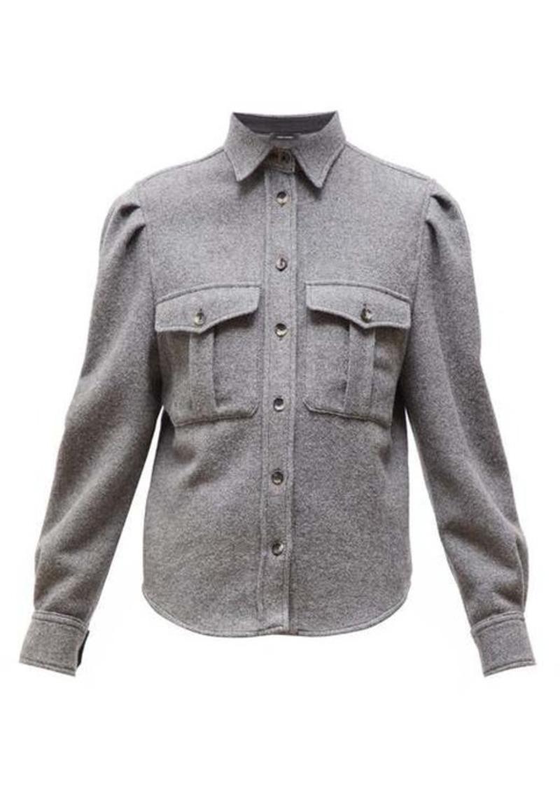 Isabel Marant Florrie puffed-sleeve wool-blend overshirt