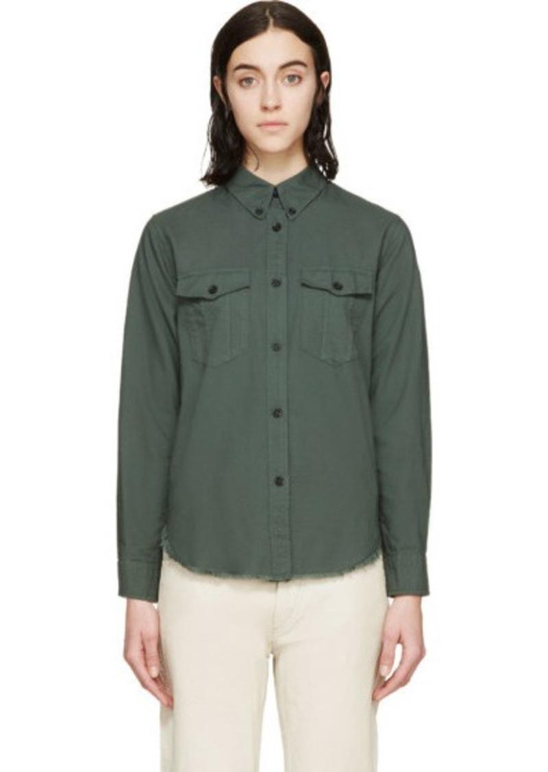 Isabel marant isabel marant green twill bastien shirt for Isabel marant shirt dress