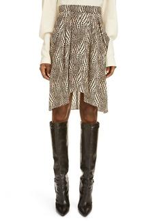 Isabel Marant Igina Dot Print Stretch Silk Skirt