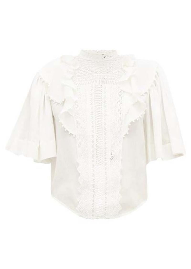 Isabel Marant Ioleya pompom-trim crinkled cotton-blend blouse