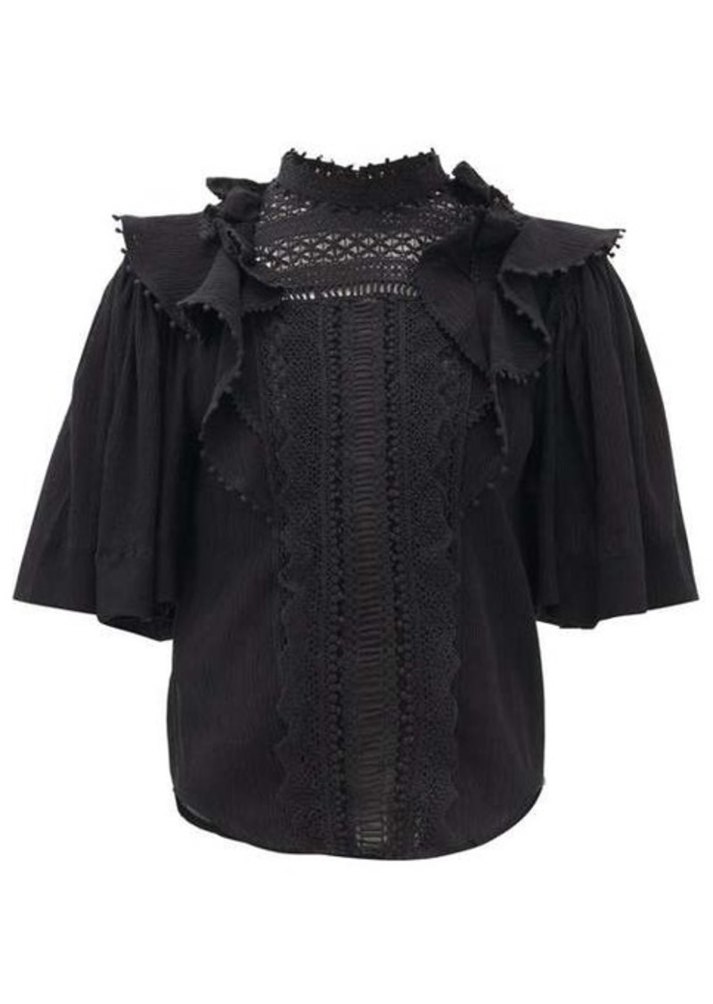 Isabel Marant Ioleya ruffled lace cotton-blend top