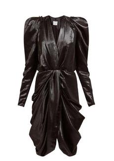 Isabel Marant Issolya puff-sleeve draped silk-blend lamé dress