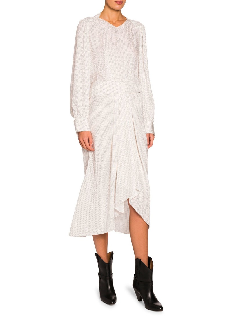 Isabel Marant Jacquard Silk V-Neck Asymmetric Dress