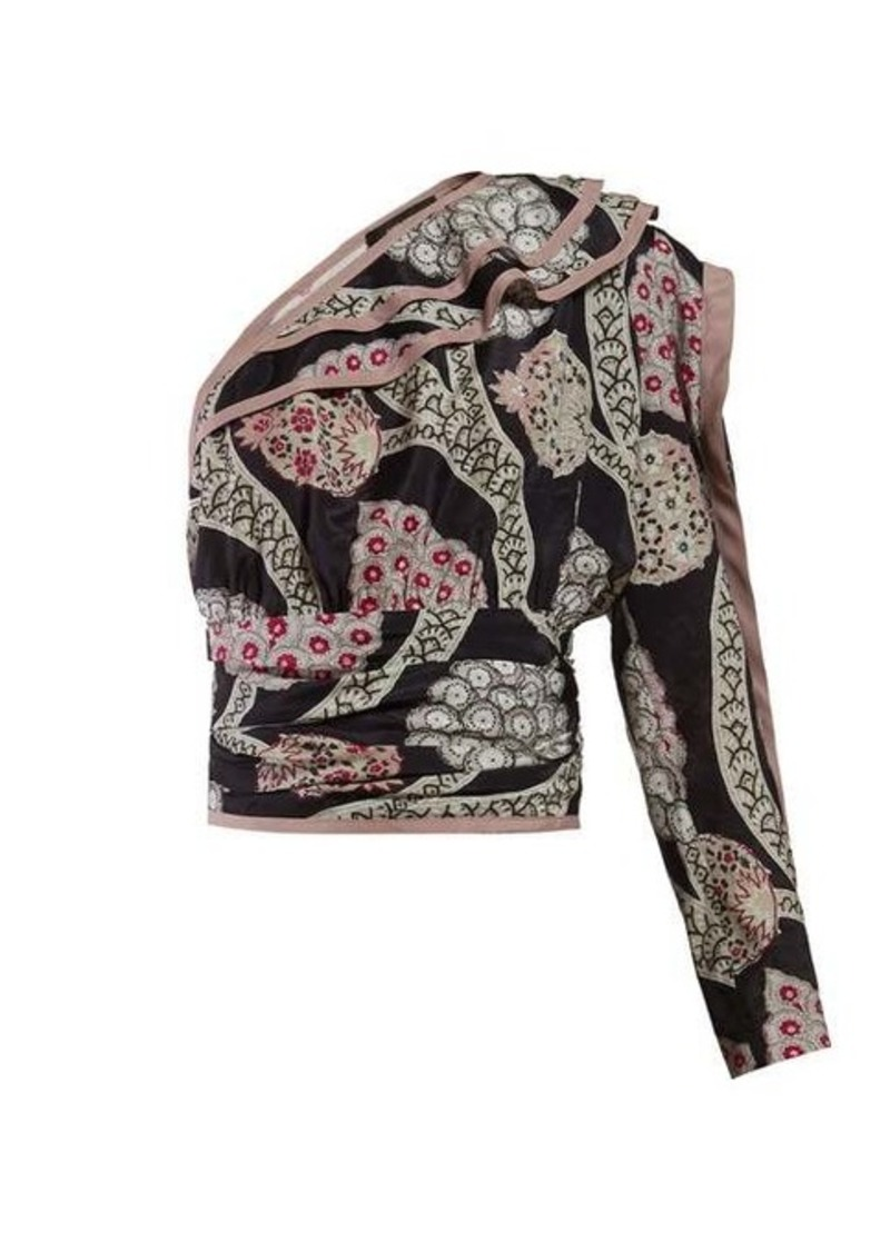 Isabel Marant Joren floral-print one-shoulder top