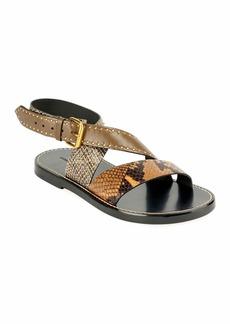 Isabel Marant Juzee Flat Snake-Print Crisscross Sandals