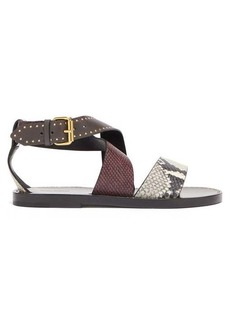 Isabel Marant Juzee python-effect leather flat sandals