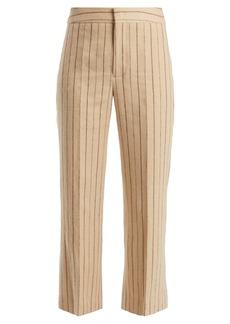 Isabel Marant Keroan striped flared cropped linen-blend trousers