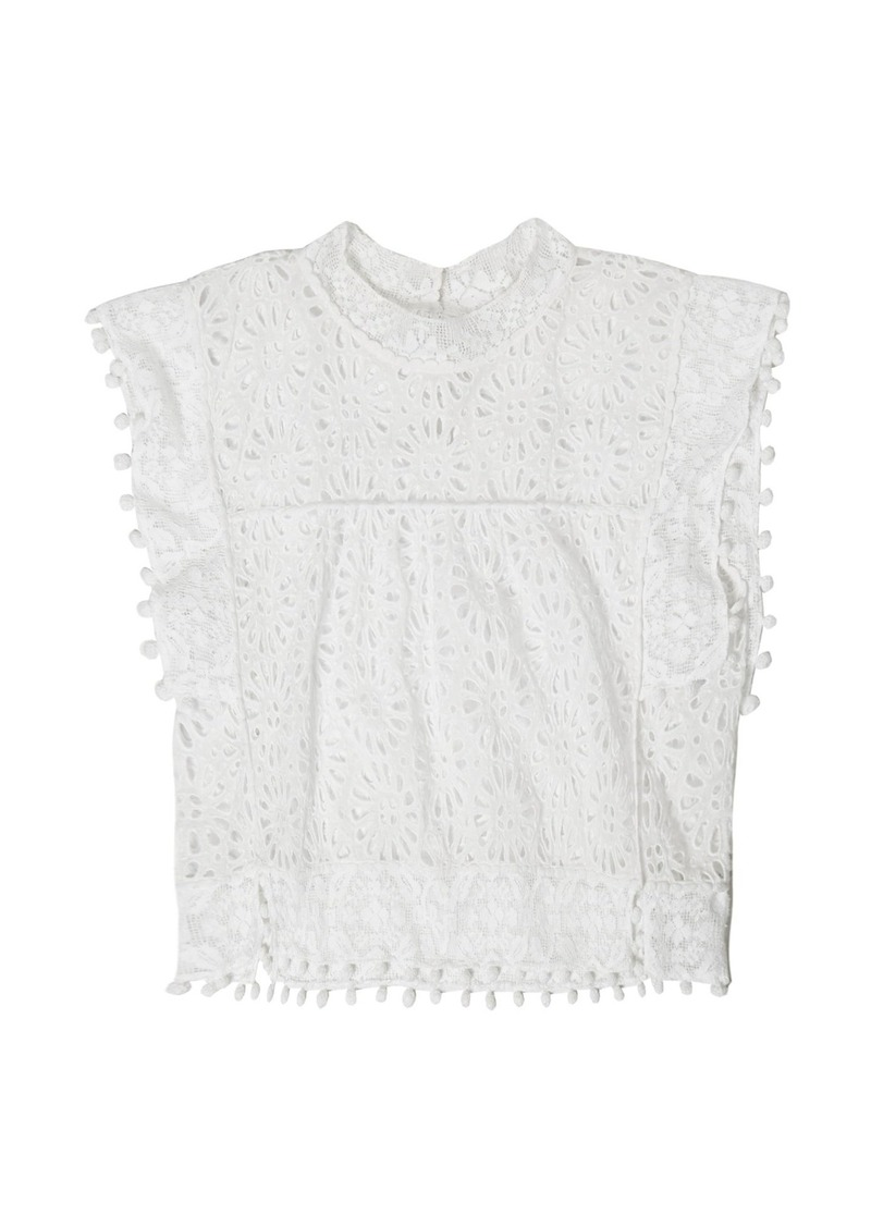 3037bf9d30 Isabel Marant Isabel Marant Kery broderie-anglaise pompom-trimmed ...