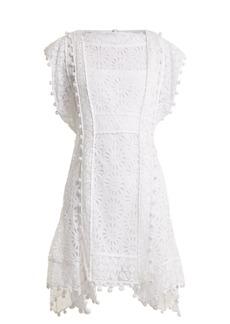 Isabel Marant Kunst pompom-trimmed broderie-anglaise dress