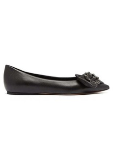 Isabel Marant Laagly crystal-buckle leather flats