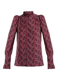 Isabel Marant Lamia leaf-print silk blouse