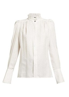 Isabel Marant Lamia jacquard and polka-dot silk-blend blouse