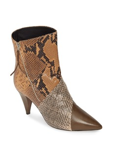 Isabel Marant Latts Python Embossed Patchwork Bootie (Women)