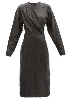 Isabel Marant Lazuli balloon-sleeve leather midi dress