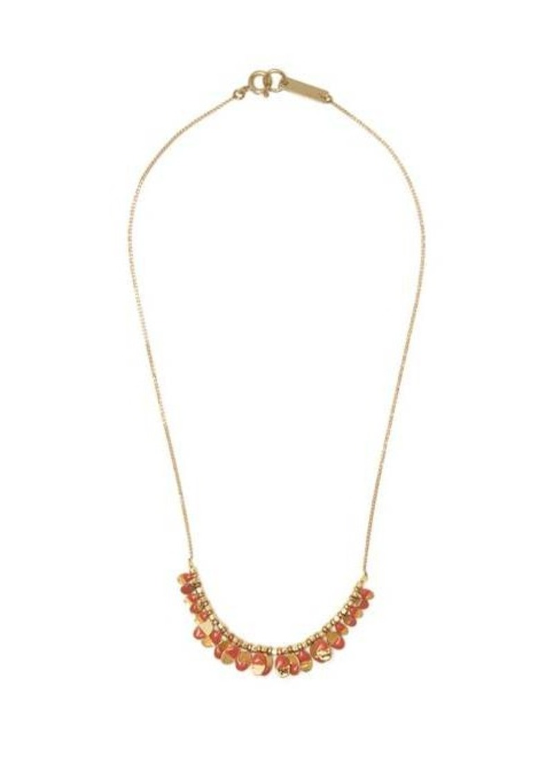 Isabel Marant Leaves enamel and metal necklace