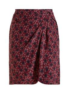 Isabel Marant Livia crepe leaf print ruffle skirt