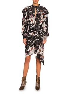 Isabel Marant Long-Sleeve Floral Asymmetric Dress