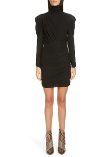 Isabel Marant Long Sleeve Ruched Jersey Body-Con Minidress