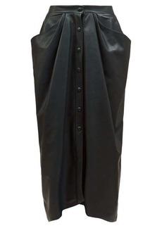 Isabel Marant Lyvia push-stud leather midi skirt