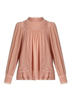 Isabel Marant Maeva high-neck embroidered silk blouse