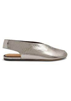 Isabel Marant Malieke crackled leather peep-toe flats