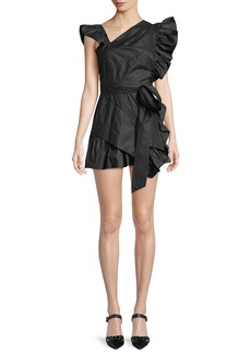 Isabel Marant Malvern Asymmetric-Neck Side-Ruffle Cotton Mini Dress