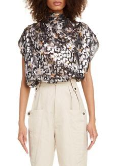Isabel Marant Metallic Silk Blend Jacquard Drape Top