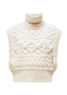 Isabel Marant Minea tiered funnel-neck cabled-merino sweater