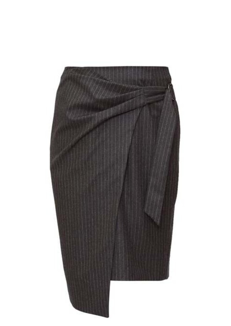 Isabel Marant Minnalia ruched chalk-striped wool pencil skirt