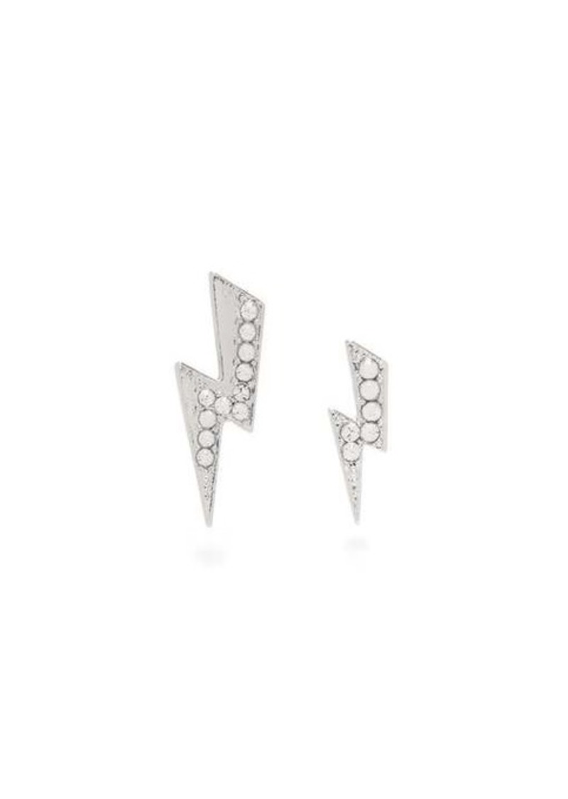 Isabel Marant Mismatched crystal-embellished lightning earrings