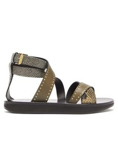 Isabel Marant Nasha printed-python studded-leather sandals