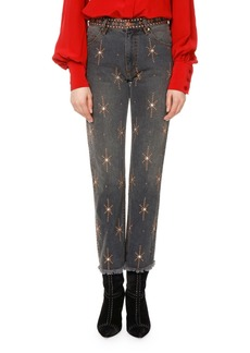 Isabel Marant Nolan Star-Embellished Slim-Straight Jeans